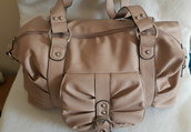 Borsa donna a mano in simil pelle multitasche weekend colore beige