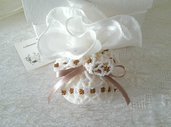 Bomboniere di perline avorio e bronzo shabby chic, regalo matrimonio, 10 pezzi