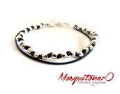 Bracciale da uomo in cuoio con perline colore argento irregolari e nodi alternati
