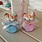 Bomboniera nascita battesimo con vasetto in vetro e Bimbo - Bimba in fimo realizzata a mano