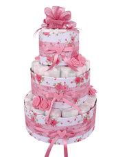 TORTA DI PANNOLINI bambina rosa con roselline in pannolenci