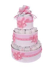 TORTA DI PANNOLINI bambina rosa con fiori in feltro