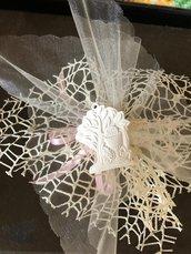 Bomboniera albero della vita comunione gesso ceramico su doppio velo rete