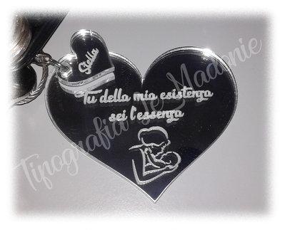 """Portachiave personalizzato doppio cuore """"Tu della mia esistenza sei l'essenza"""". Taglio laser"""