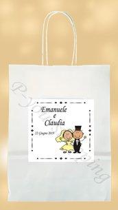 50 Wedding Bag personalizzate bianca Sacchetti carta matrimonio nozze shoppers