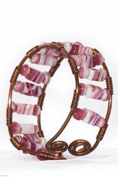 bracciale in rame con perline rosa, bracciale wire, bracciale rigido