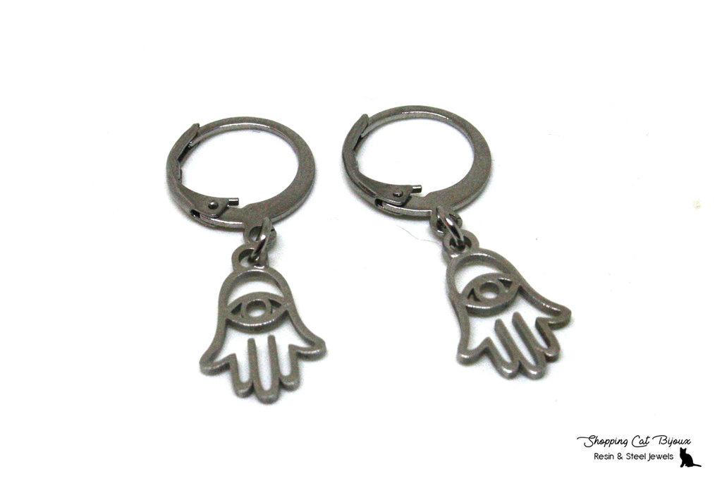 Orecchini Mano di Fatima - Orecchini a cerchio in acciaio - Orecchini anallergici - Orecchini charms - Hoops Earrings with charms