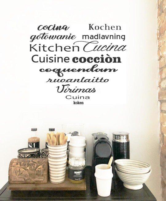 Adesivo cucina in tutte le lingue del mondo formato medio