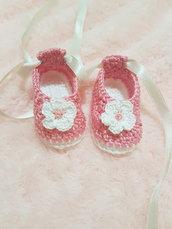 scarpine ballerine rosa per neonata fatte a mano all' uncinetto