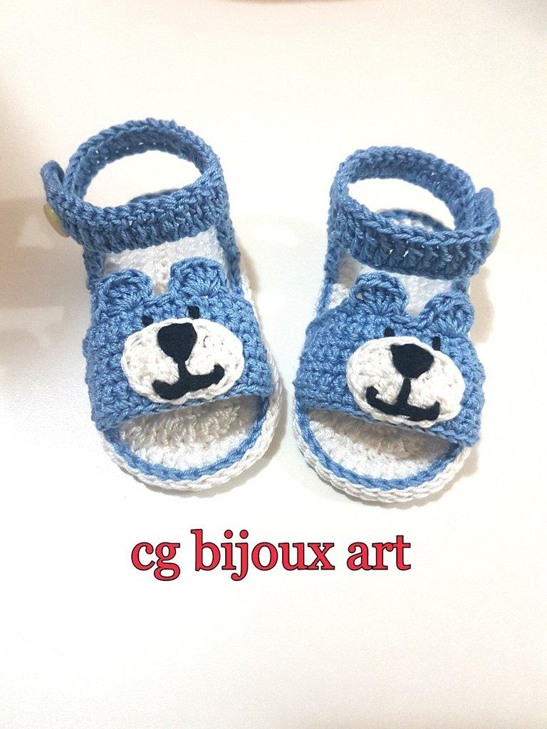 Scarpine per bambino sandali di cotone fatti a mano all'uncinetto