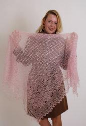 sciarpa, sciarpa di lana, stola lana, mantellina, lana di capra, colore rosa, scialle, scialle caldo, scialle di lana, handmade
