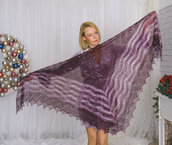 sciarpa, sciarpa di lana, mantellina, lana di capra, colore lilla, scialle, scialle caldo, scialle di lana, handmade