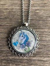 Collana unicorno blu
