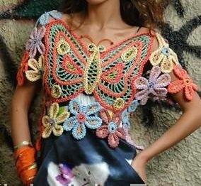 Schema uncinetto maglietta farfalla fiori