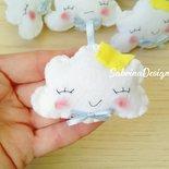 Bomboniera nuvola in feltro confettata nascita battesimo