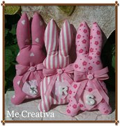Coniglietto tessuto rosa c/iniziale