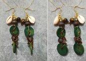 Orecchini pendenti donna in legno naturale conchiglie idea regalo