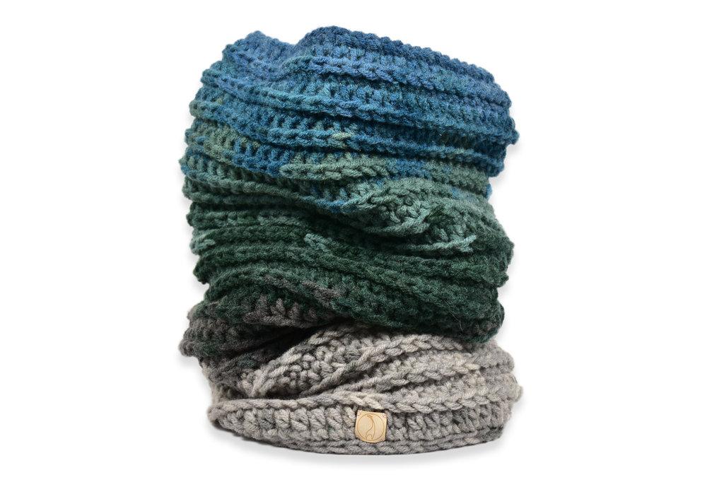 Scaldacollo invernale blu-verde-grigio