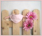 Bavaglino bandana - bavaglino neonata - cotone rosa a cuoricini bianchi - fatto a mano