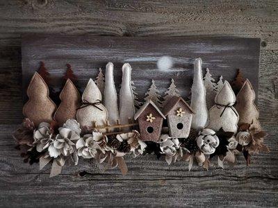 Pannello legno paesaggio abeti fiori realizzato a mano