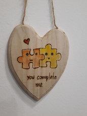 targhetta piccolo cuore you complete me