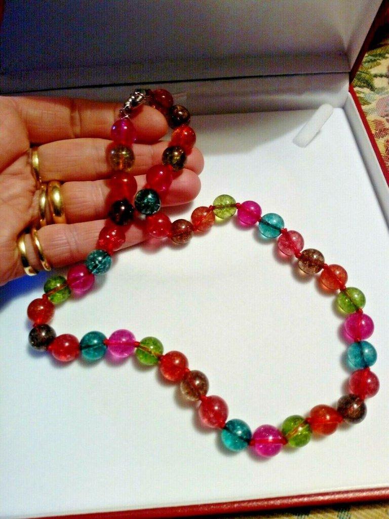Collana donna vere tormaline multicolor 7 chakra pietre dure naturali perle 10 mm cristalloterapia