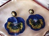 Fantastici orecchini artigianali in resina Panse' Blu