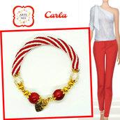 Bracciale donna fatto a mano di perline Carla a spirale e pietre rosse e cristallo cracked-handmade, accessories,gift ideas, anniversary, holidays