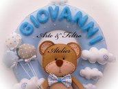 Fiocco Nascita Bambino/Azzurro/Fatto a mano/Feltro e pannolenci/Personalizzabile