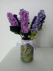Barattolo vetro riciclo creativo con fiori di lavanda in pannolenci