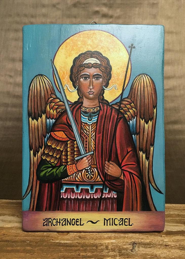 Icona dipinta interamente a mano su tavola di legno massello - ARCANGELO MICHELE