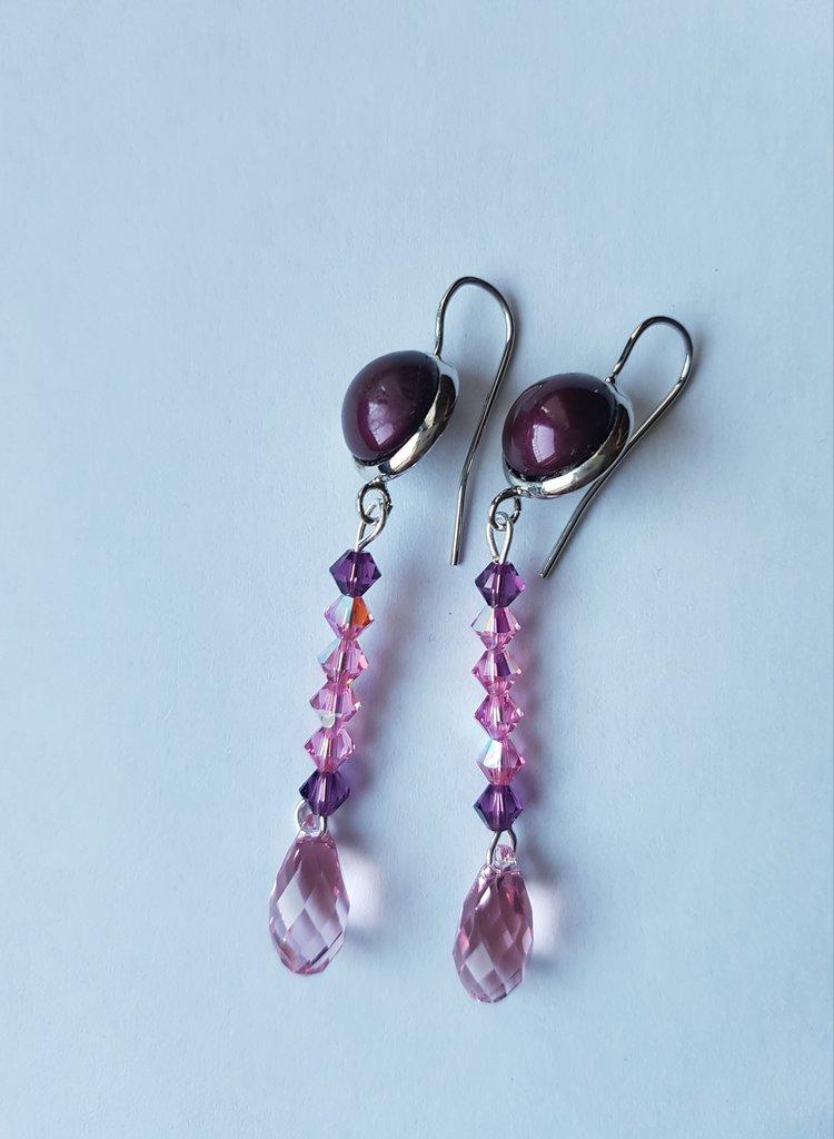 Orecchini pendenti Rose Purple