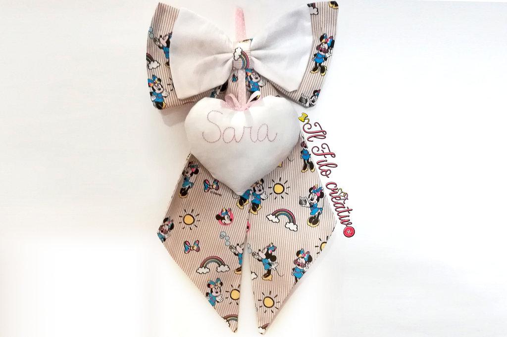 Fiocco Nascita con disegni Minnie per bambine