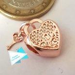 Ciondolo lucchetto cuore con chiave oro rosa