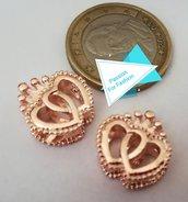 Perla doppio cuore in metallo color oro rosa