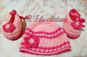 Cappellino e Scarpe per bambina neonato fatti a mano all'uncinetto in lana in varie taglie