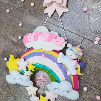 Fiocco nascita arcobaleno con unicorno🌈