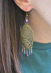 Orecchini con perle di Ematite in stile Vintage, orecchini pendenti, boho chic, orecchini perline