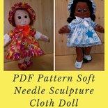 Cartamodello bambola di stoffa, tratti delineati con scultura morbida, cartamodello abito.