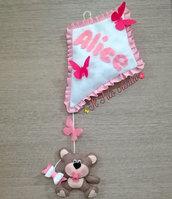 Fiocco Nascita Orsetto con Aquilone realizzato a mano in pannolenci personalizzabile per bimba o bimbo