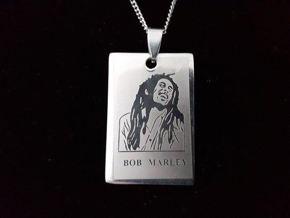 Collana uomo Minimalista in Acciaio con ciondolo di Bob Marley - MSN07