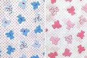 Tessuto cotone stampato con orsetti rosa o celesti ideale per cucito creativo