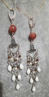 Orecchini pendenti cuore argento tibetano monachella argento 925 agata rosa antico
