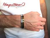 Bracciale uomo fatto a mano artigianale in ematite perle a freccia, gioielli minimalista,regolabile bracciale, elegante, per lui
