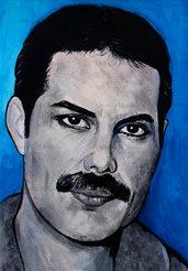Ritratto acrilico Freddie Mercury Queen dipinto a mano opera originale