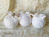 Palline di Natale fatte a mano, decorazioni, ornamenti in pizzo, bomboniere sposa, regali di Natale shabby chic