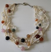 Collana perle di fiume naturali e giada