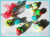 Bracciale PASTICCINI E FRAGOLE fimo cernit idea regalo san valentino dolcetti TURCHESE
