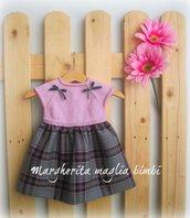 Abito bambina scottish tartan - corpetto pura lana merino rosa - fatto a mano