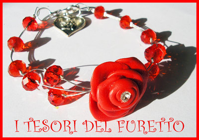 Bracciale Rosa Rosso fimo cernit idea regalo San Valentino